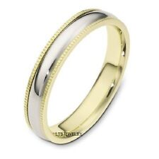 MENS 14K TWO TONE GOLD WEDDING BAND,WOMENS 4MM MILGRAIN SOLID GOLD WEDDING RINGS