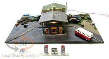 Tankstelle mit Autowerkstatt + Einfahrt Zapfsäulen Autofriedhof Scale ca 1:87