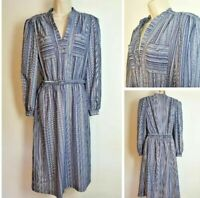 Vintage 80's size 14-16 Blue Stripe Long Sleeve Belted Midi MCJ Casual Dress D5