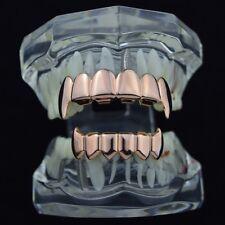 14k Rose Gold Plated Full Fang Grillz Set Top Bottom Fangs Vampire Teeth Grills