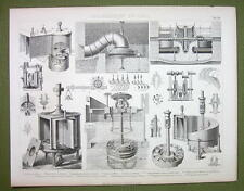 HYDRODYNAMIC MOTORS Helix Turbines Paddle Wheels etc - 1870s Print Engraving