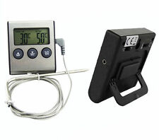 FS High Temperature Digital C/F Thermometer Probe Timer Magnet Cooking Meat Food