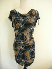 Vivienne Tam Dress Ruched Mesh Body Con Sleeveless Print M