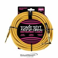 Ernie Ball 25ft Braided Straight / Angle Instrument Cable - Guitar Lead - Gold