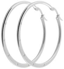 Titanium Titan Ohrhänger Ohrringe Creolen Kreolen Damen Zirkonias Silber große
