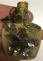 Vintage Empty Glass Braun Perfume Bottle Decorative Flowers Gold Cork Top