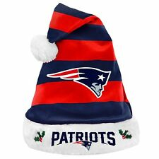 New England Patriots Team Logo Holiday Plush Santa Hat NEW! Christmas STRIPED