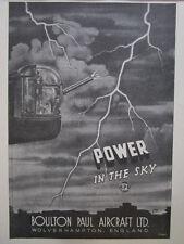 "10/1945 PUB BOULTON PAUL AIRCRAFT 5"" GUN TURRET LINCOLN BOMBER THUNDER ECLAIR AD"