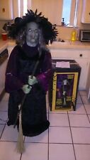 GEMMY STANDING ANIMATRONIC WITCH with BROOM. Retired Halloween prop. Someissues