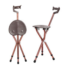 COFFEE FOLDING ALUMINIUM WALKING STICK WITH SEAT MOBILITY TRIPOD STOOL