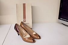 Womens 8.5 AAAA Bruno Magli Taupe Multi Color Opentoe Leather Heels