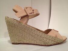 Diane Von Furstenberg Wedge Espadrille Patent Leather Sandals Beige 9.5 M $250