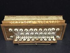 Antique Flutina / Accordion ! Beautiful Marquetry inlays & Pearl Buttons c.1850
