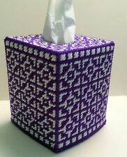 Mosaic Tissue Cover Purple & White handmade Boutique size