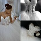 Sparkly Ball Gown Corset Wedding Dress Pearls Sweetheart Princess Bridal Gown
