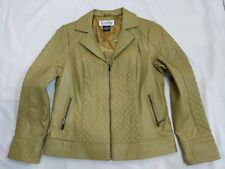 Bradley by Bradley Bayou 100% Leather Green Zip Up Jacket Size M Quilted Panel