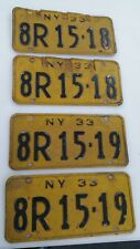 1933 New York Sequential License Plate sets  (2 SETS 4 PLATES)