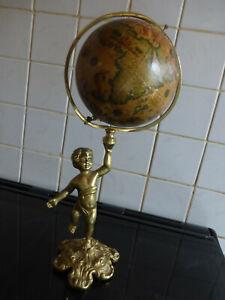 statue Cherubin Putti Ange  en bronze ?? avec Mappemonde Globe terrestre