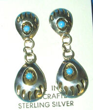 Silver Double Bear Paw Earrings Native American Gaynell Parker Navajo GP02