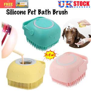 Pet Massage Bath Brush Shampoo Dispenser For Dog Cat Silicone Scrubber Tool UK