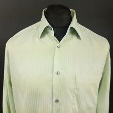 HUGO BOSS Mens Shirt 16.5 34/35 (XL) Long Sleeve Green Regular Fit Striped