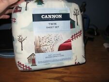 TWIN FLANNEL SHEET SET CANNON 100% COTTON CABINS/LODGE/PINETREES 3PIECE SET NEW