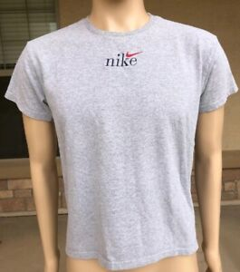 Vintage 90s Nike Swoosh Solid Blank Gray T Shirt White Tag USA Made Size Medium
