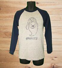 Disney Store Grumpy Men's Gray & Blue LS Raglan Shirt! Distressed Graphic. Sz S