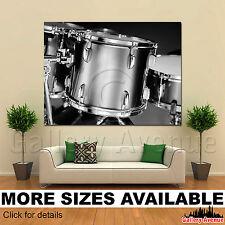 A Wall Art Canvas Picture Print - Drum Kit Black White 4.3