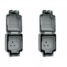 2 x Hager WXPSS81 Weatherproof Switch Sockest IP66 13 Amp 1 Gang Double Pole