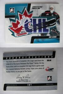 2008-09 ITG Between the Pipes CHL-04 Kris Lazaruk 1/1 CHL logo shield  RC Rookie