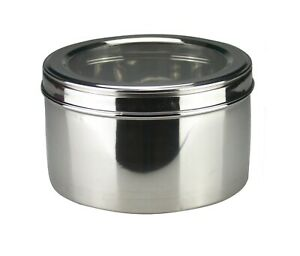 Stainless Steel Cake Storage Tin Canister Puri Dabba Biscuits Deep Cookie Tin