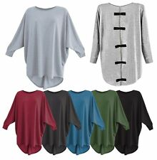 New Ladies Women Bow Back Batwing Oversized Long Sleeve Baggy Jumper Top Blouse