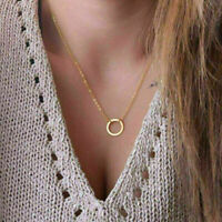 2x Gold Simple fashion Thin Circle Chain Necklace Ring Pendant Forever Cir Q2N0