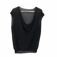 Eileen Fisher Womens Medium Solid Black V Neck Cap Sleeve Sheer Knit Top