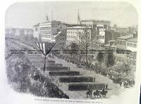 Antique Print 22-023 President Lincoln - funeral procession in Washington c.1865