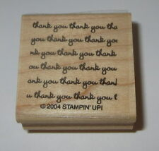 Thank You Rubber Stamp Background Stampin' Up! New NOS Retired Wood Mounted