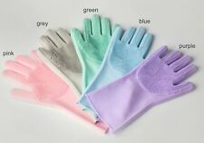 Magic Silicone Rubber Dish Washing Kitchen Pet Bath Cleaning Gloves (Pink only)