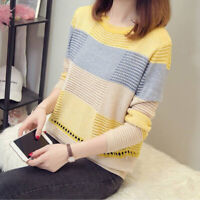 Women Patchwork Jumper Knitted Long Sleeve Chunky Sweaters Tops Pullover Casual