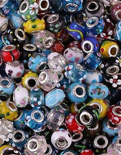 100pcs Mixed Lampwork Glass Flower Floral Beads Fit European Charms Bracelet