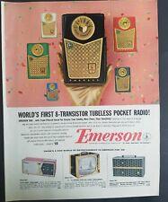 1958 Emerson 888 transistor tubeless pocket radio vintage color AD
