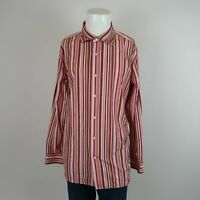 Banana Republic Pink Red Brown Long Sleeve Cotton Stripe Casual Shirt Mens XL