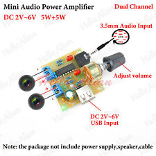 Mini Audio Power Amplifier Board 5W Dual Channel DC 3V~6V 5V USB Adjustable Knob