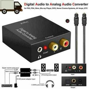 Optical Coaxial Toslink Digital to Analog Audio Converter L/R Adapter RCA Q4M2