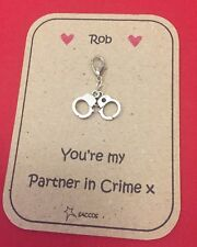 Anniversary Gift For Him Her Keyring Clip Partners In Crime Handcuffs Saccos