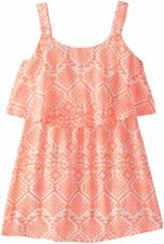 MY MICHELLE Girls Size 16 Coral Tan Aztec Print Chiffon Popover Summer Dress NWT