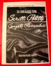 "Scritti Politti Songs To Remember Vintage ORIG 1982 Press/Magazine ADVERT 8.5""x6"