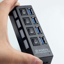Slim 4-Port USB 3.0 5Gbps Speed Portable Compact Hub Adapter For PC Laptop