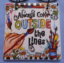 "NEW Suzy Toronto Hanging Plaque, ""Color Outside the Lines"", from Enesco"