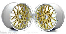 """RC1 ROTIFORM BBS 18"""" 8.5 + 9.5J STAGGERED ET45 5X114.3 GOLD ALLOY WHEELS Y2867"""
